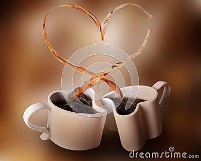 Love splash of coffee Stock Photo