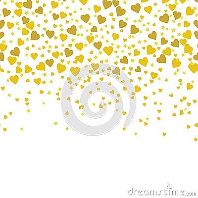 Gold sparkles on white background. Gold glitter background. Vector Illustration