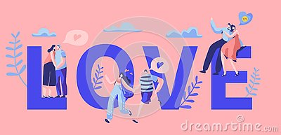 Love Story Couple Character Motivation Typography Banner. Happy Lover Hug, Kiss on Bench. Woman Man Romantic Flirt Vector Illustration