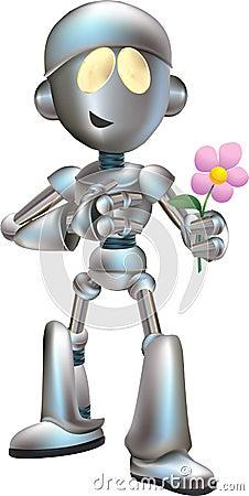 love struck robot with flower