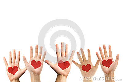 Love symbol on hand palm