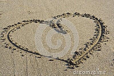 Love Symbol in the sand