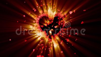 Love symbol. Valentine. 3D animation. The dynamic movement of small hearts. Creating a big shining heart. Available in high-resolution and several sizes to fit royalty free illustration