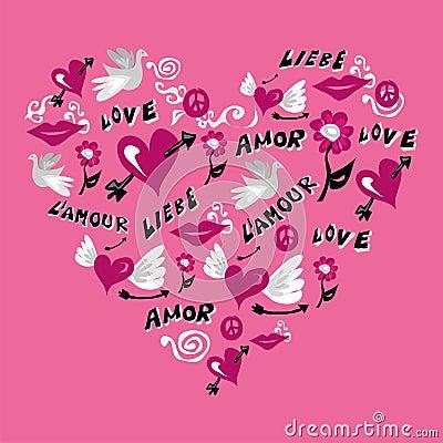 Love symbols in heart shape