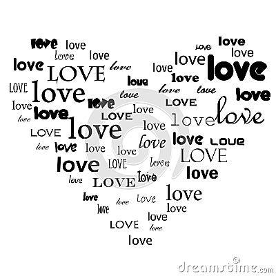 Love text in heart shape