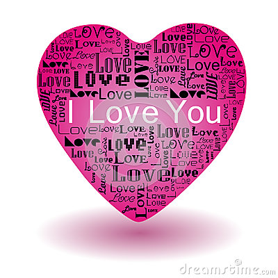 Love text in pink heart