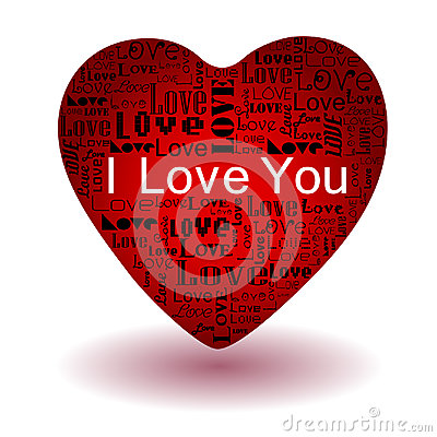 Love text in red heart