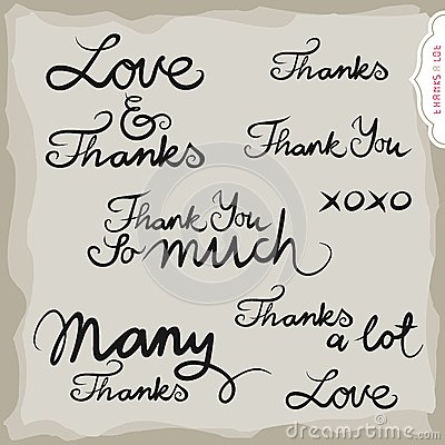 Love and thanks hand drawn inscription set