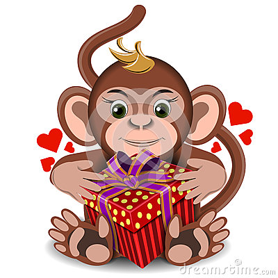 Free Love The Plush Toy Monkey With Box Gift Royalty Free Stock Photography - 73545737