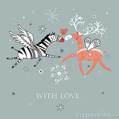 Free Love The Zebra And Deer Royalty Free Stock Image - 22388656
