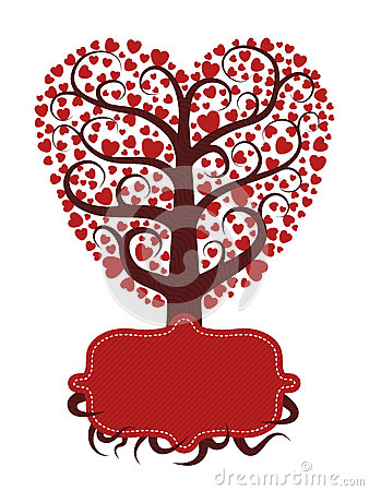 Love tree with banner
