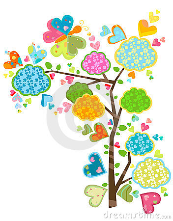 Love tree and butterflies