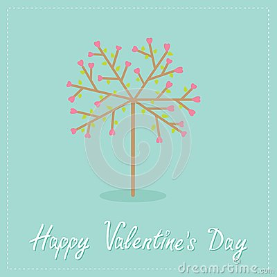 Love tree with hearts and leaves Flat design Happy Vector Illustration