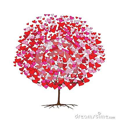 Love tree with hearts, valentine theme