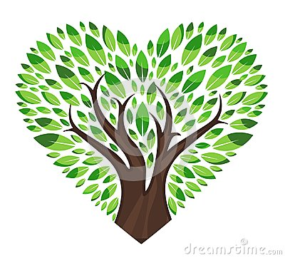 Love tree with leaves Vector Illustration