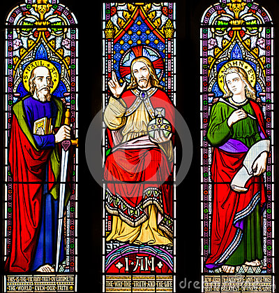 Love Truth Faith Hope Stained Glass Window