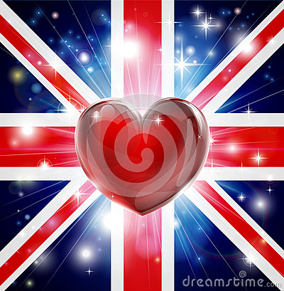 Love UK flag heart background