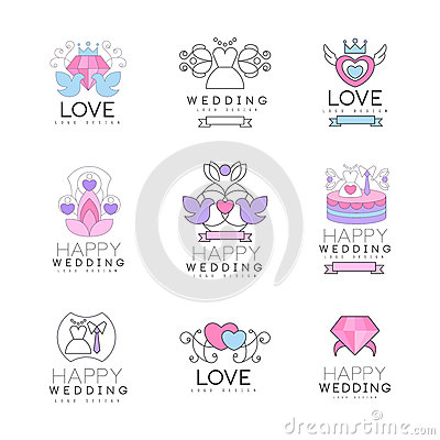 Love and wedding set for logo design, collection of colorful Illustrations Vector Illustration