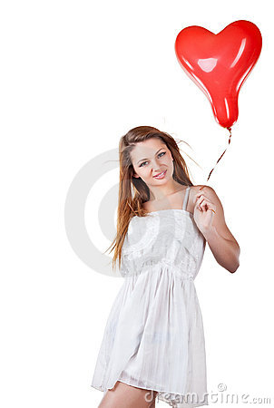 Love woman holding heart balloon