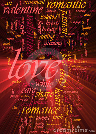 Love word cloud glowing