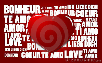 Love word cloud with red heart