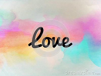The love word on a colorful background Stock Photo