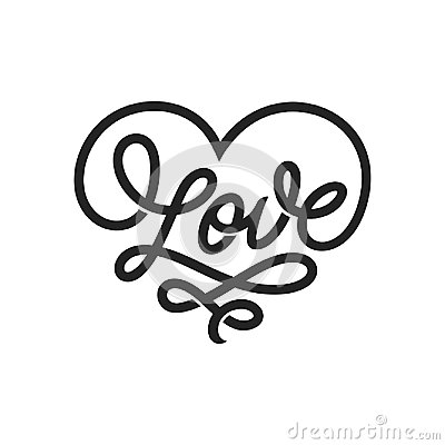 Free Love Word Lettering In Form Of Heart. Vector Vintage Illustration. Stock Image - 107855571