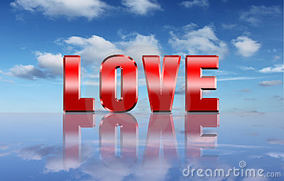 Love word over heaven background