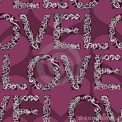 Love word seamless background tile