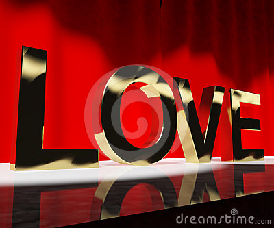 Love Word Showing Heart And Romance For Valentines Or Love Actin