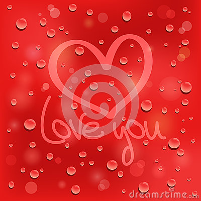 Free Love You. Drawn Heart On The Wet Glass. Red Backgr Stock Photo - 29054260
