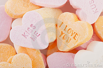 Love you and kiss me candy hearts