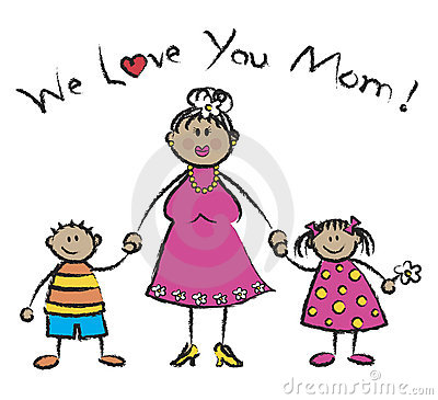 We Love You Mom - Tan Skin Royalty Free Stock Photography - Image ...