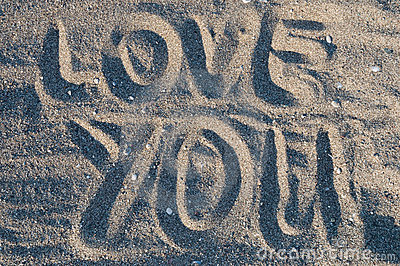 Love you in sand