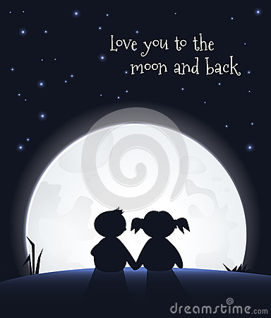 love you to the moon and back stock vector image 48987218. Black Bedroom Furniture Sets. Home Design Ideas