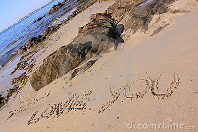 Love you written on the beach