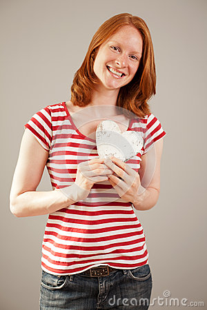 Love - Young woman posing as a Valentine