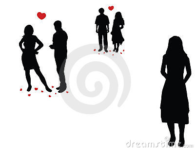 Loveful couples and lonely girl