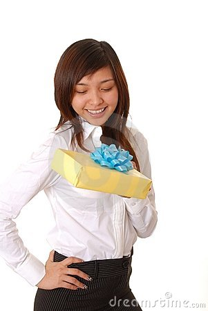 Free Lovely Asian Girl With A Gift Stock Photo - 3940390