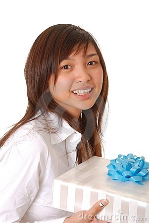 Free Lovely Asian Girl With A Gift Stock Photos - 3940393