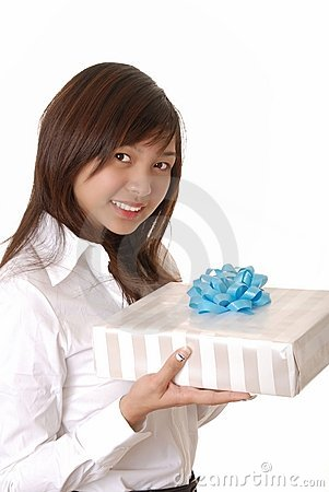 Free Lovely Asian Girl With A Gift Royalty Free Stock Photography - 4595877