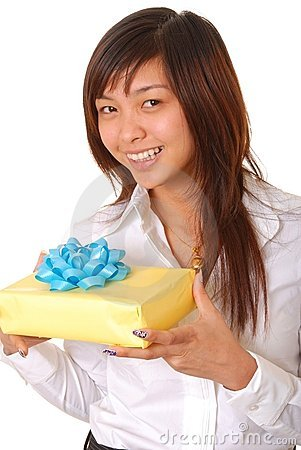 Free Lovely Asian Girl With A Gift Stock Photo - 5678920