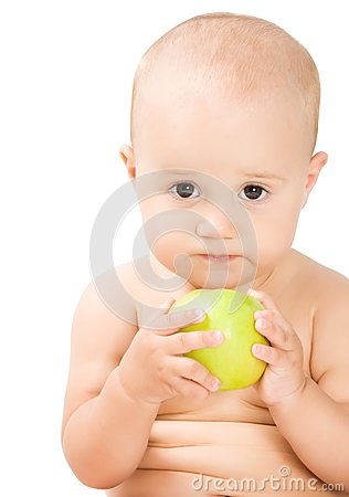 Lovely baby girl with green apple