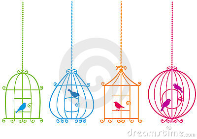 Lovely birdcages with birds,