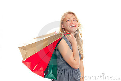 Lovely blond with shopping bags