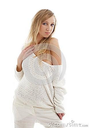 Lovely blond in white linen tr