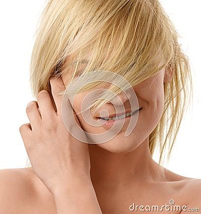 Lovely blonde bites her lip