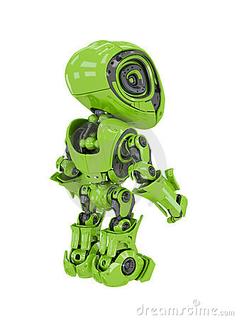 Lovely bright green android backwards