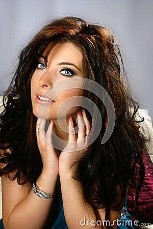Lovely brunette with blue eyes