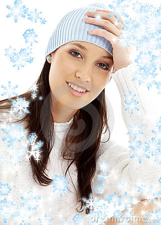 Free Lovely Brunette In Winter Hat Stock Photography - 3572212